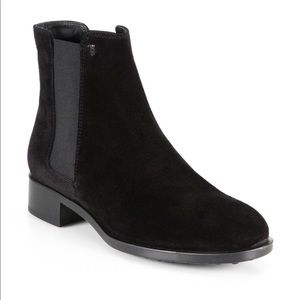 Tods Black Leather Suede Ankle Chelsea Boots 10.5
